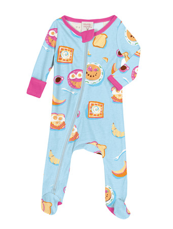 Breakfast In Bed Infant Zip Front Rib Blanket Sleeper