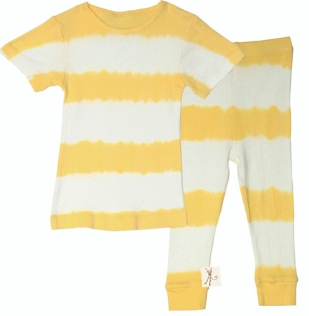 Kids Yellow Stripe Long John Pajama Set