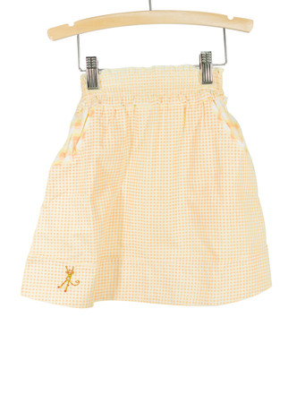 Yellow Smocked Waist Gingham Skirt  Playwear