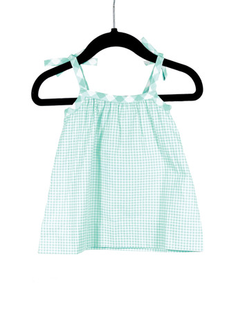Bow Tank-Blue Gingham