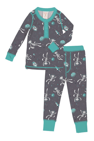 Sock Monkeys in Space Kids Rib Long John PJ Set