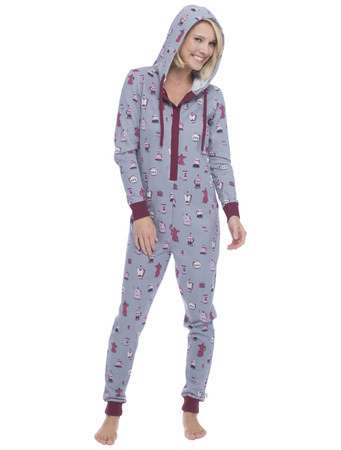 Coffee Sparkle Fleece Union Suit