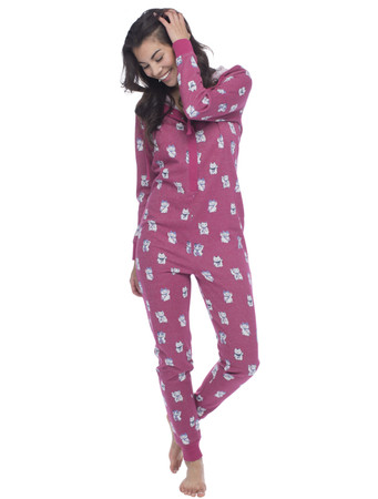 Lucky Cat Sparkle Fleece Union Suit