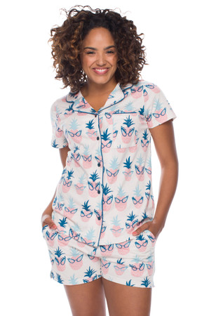 Pineapple Sassy Glasses Jersey Short Sleeve Set