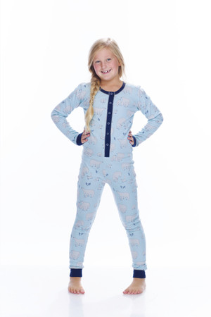 Blue Polar Bears Thermal Kids Union suit