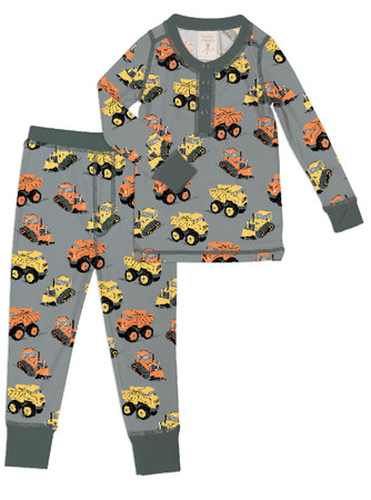 Construction Trucks Kids Long Johns