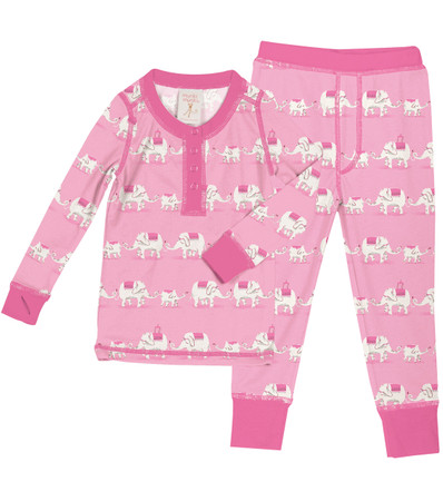 Pink Elephants Kids Long John PJ Set