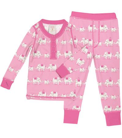 Pink Elephants Long John PJ Set