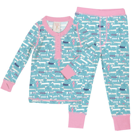 Wiener Dog Sweaters Kids Long John PJ Set