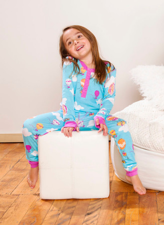 Hot Air Balloons Kids Long John PJ Set