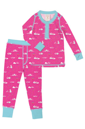 Bunny Love Kids Long John PJ Set