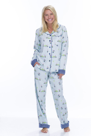 Light Blue Snow Gnomes Flannel Classic PJ