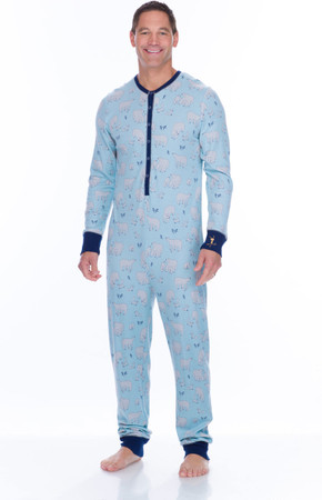 Blue Polar Bears Men's Thermal Long Sleeve Union Suit