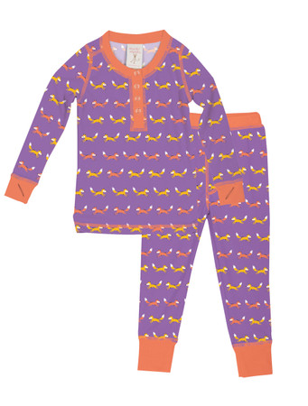 Purple Teeny Foxes Kids Long John Pajama Set