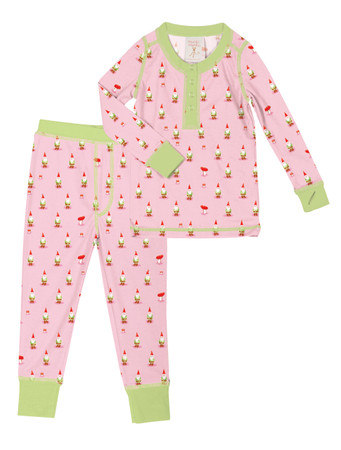 Pink Gnomes Toddler Long John Pajama Set