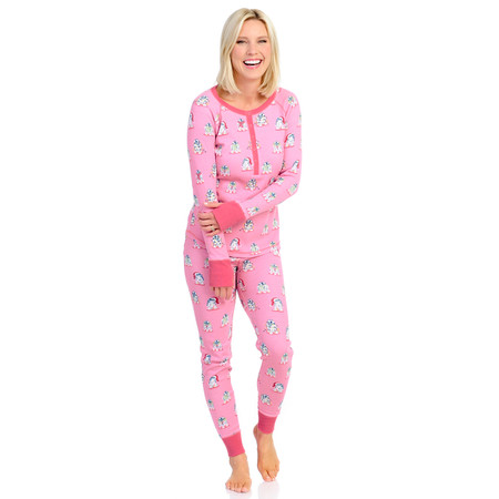 R2-D2 Christmas Pink Womens Thermal Long John PJ Set