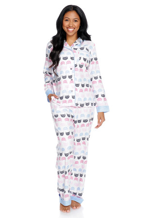 Cat Polka Dot Women's Flannel Classic Set