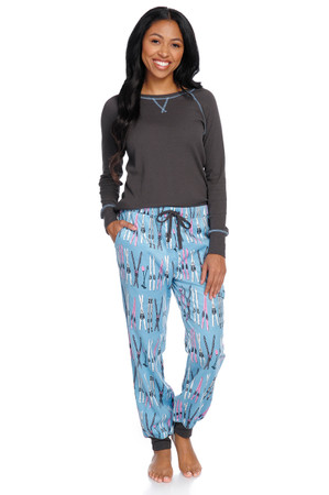 Vintage Skiing Women's Flannel Jogger Set