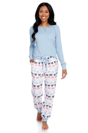 Cat Polka Dot Flannel Jogger PJ Set