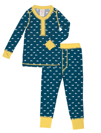 Teeny Whales Kids Long John Pajama Set