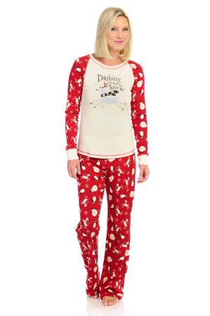 Dashing Through the Snow Women's Rib Raglan Long Sleeve and Pant PJ set