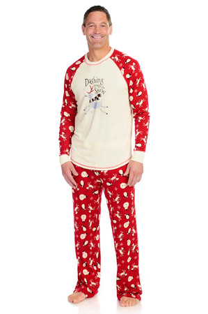 Dashing Through the Snow Men's Rib Raglan Long Sleeve and Pant PJ Set