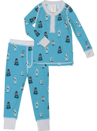 Cute Star Wars Kid's Rib Henley Top and Pant PJ Set
