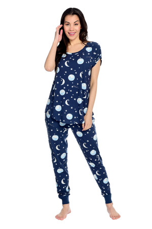 Moon and Stars Women's Jersey Short Sleeve Tee and Jogger Set