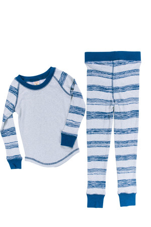 Heather Sketchy Stripe Kids Long John PJ Set
