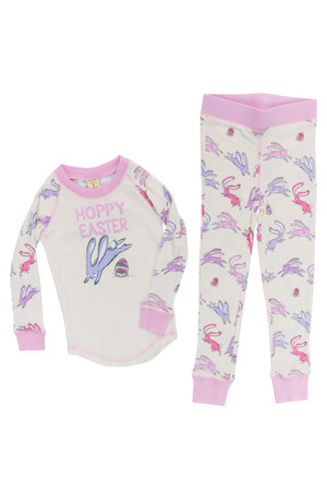 Heather Hoppy Easter Girl Bunnies Tight Fitting Rib Raglan Long John PJ Set