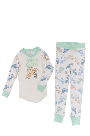 Heather Hoppy Easter Boys Bunnies Tight Fitting Rib Raglan Toddler Long John PJ Set