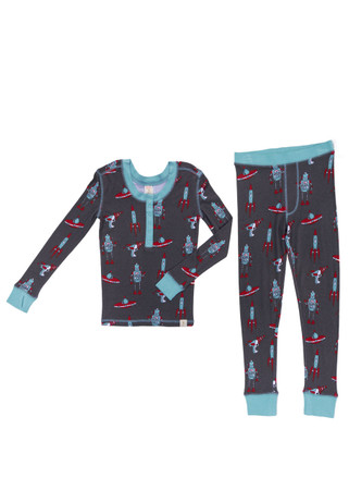 Retro Space Kids Long John PJ Set