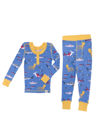 Sharks Kids Long Sleeve Henley with Thumbholes and Long John PJ Set