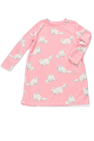 Fluffy Cats Kids Plush Nightshirt
