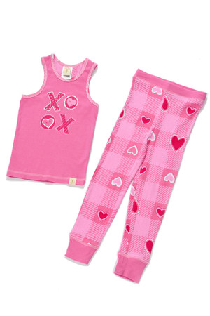 Buffalo Plaid Hearts Girls PJ Set