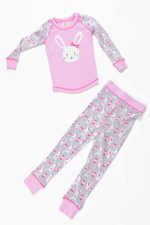 Bunnies Pink Kids Long John PJ Set