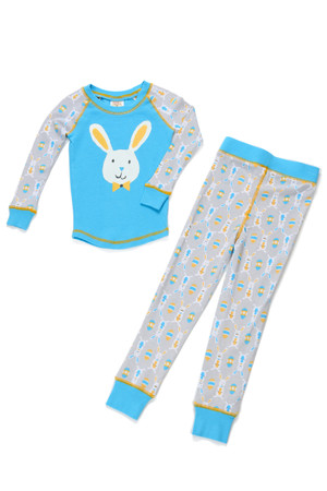 Bunnies Blue Kids Long John PJ Set