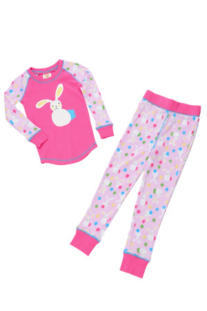 Floppy Ear Pink Bunnies Kids Long John PJ Set