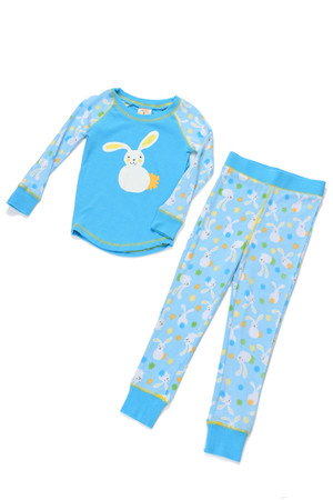 Floppy Ear Blue Bunnies Kids Long John PJ Set