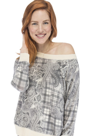 Plaid Paisley Long Sleeve Raglan Sweatshirt