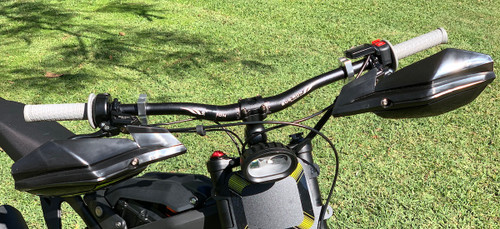 Sur Ron adjustable riser greatly improves rider position and leg room 90mm unit