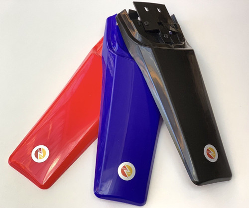 Extra long rear guard for maximum protection against mud and water splash back. Fits to factory mounting points available in black ,red or blue.