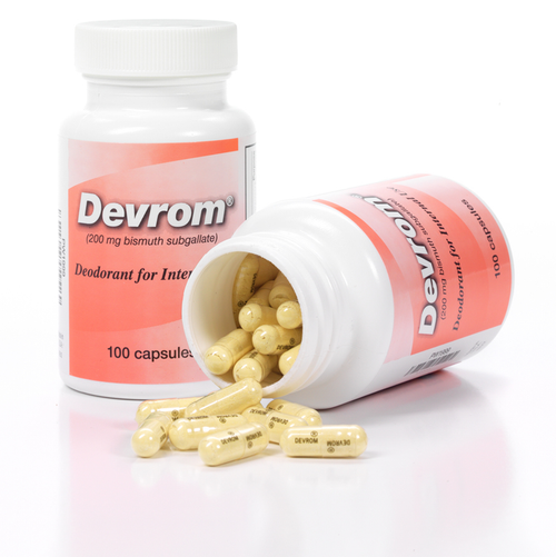 Devrom (internal deodorant) Capsules Devrom is an internal deodorant used to control malodor from stool and flatulence.
