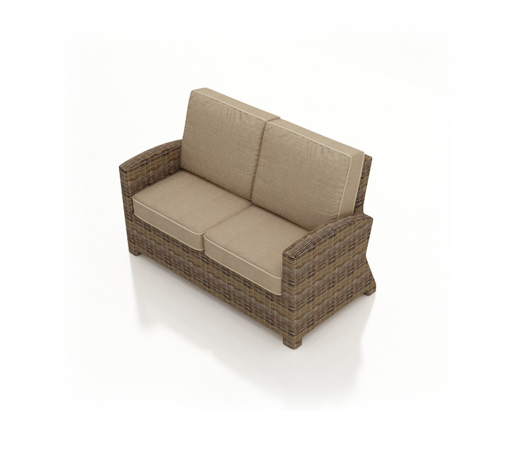 Forever Patio Cypress Wicker Loveseat Heather Sunbrella Canvas Taupe With Linen Canvas Welt