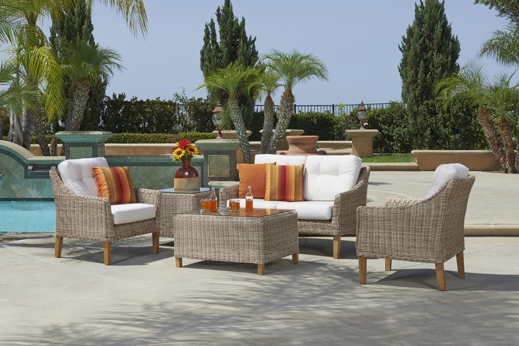 Forever Patio 4 Piece Carlisle Loveseat Set with Woven Coffee Table Alabaster Sunbrella Linen Canvas