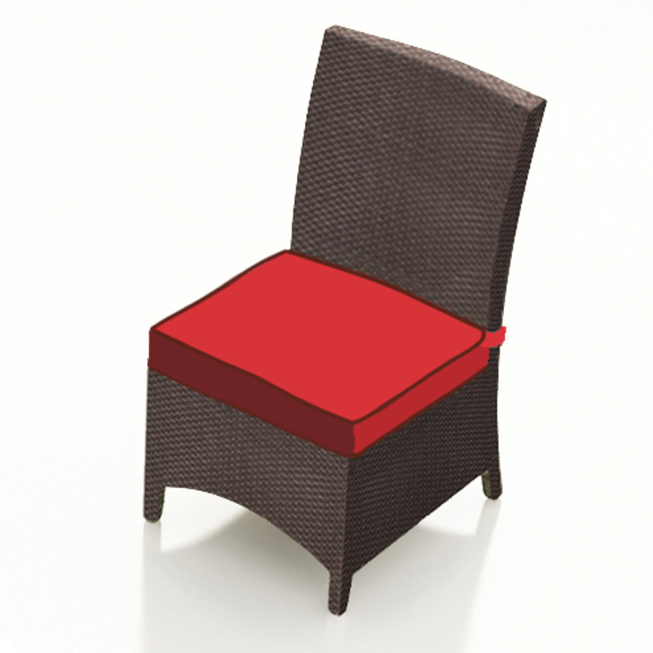 Forever Patio Barbados Resin Wicker Dining Side Chair Ebony, Flagship Ruby With Canvas Bay Brown Welt Sunbrella Fabric