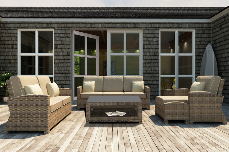Forever Patio Cypress Collection 6 Piece Wicker Sofa Set Heather Sunbrella Canvas Taupe With Linen Canvas Welt