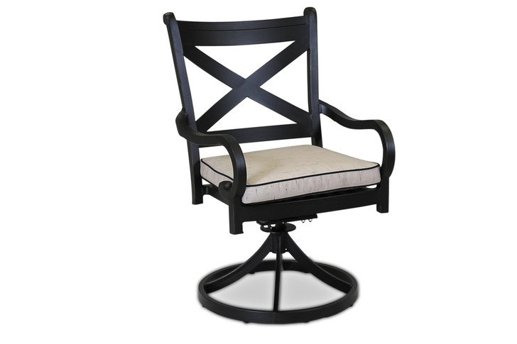 Monterey Swivel Dining Chair With Cushions In Frequency Sand With Canvas Walnut Welt