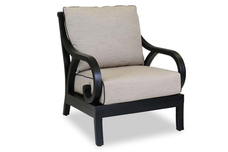 Monterey Club Chair with cushions in Frequency Sand with Canvas Walnut Welt