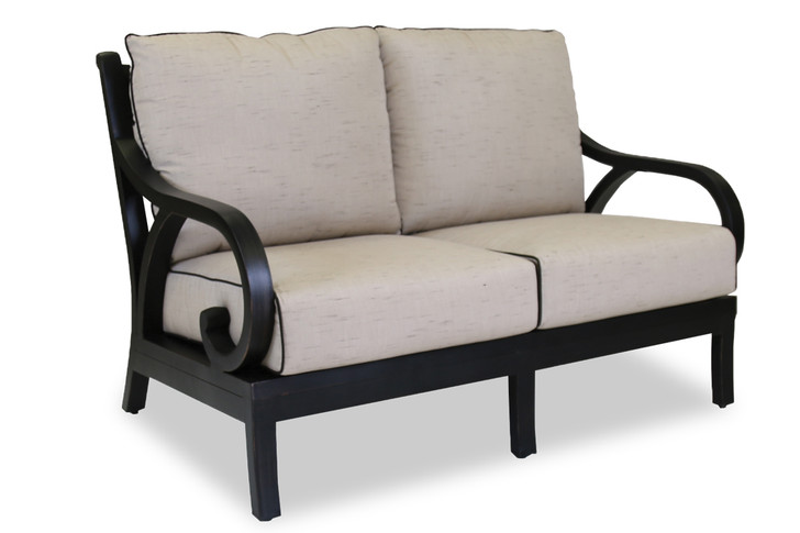 Monterey Loveseat With Cushions In Frequency Sand With Canvas Walnut Welt